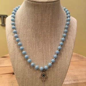 Vintage light blue beaded necklace with cz hamsa